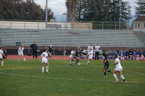Girls varsity soccer plays against Mountain View; game ends in a tie