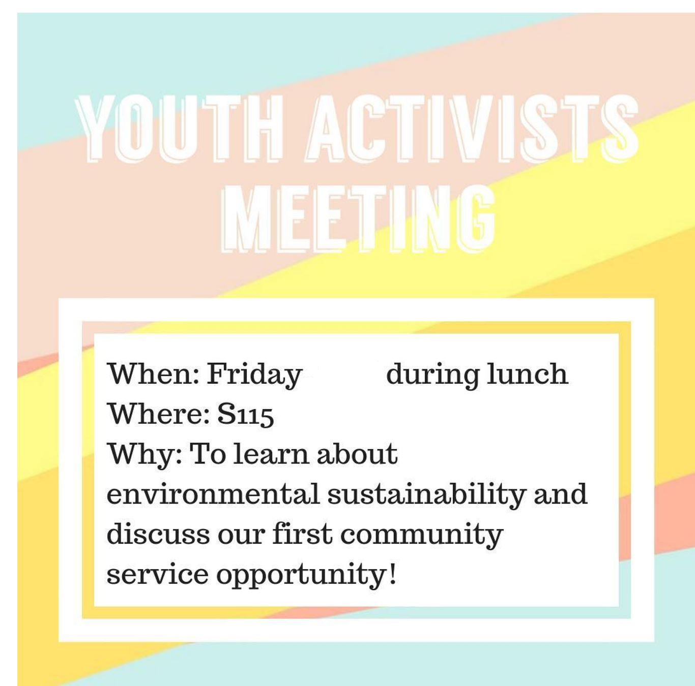 The Youth Activists club invites all to help make the world a better place.
