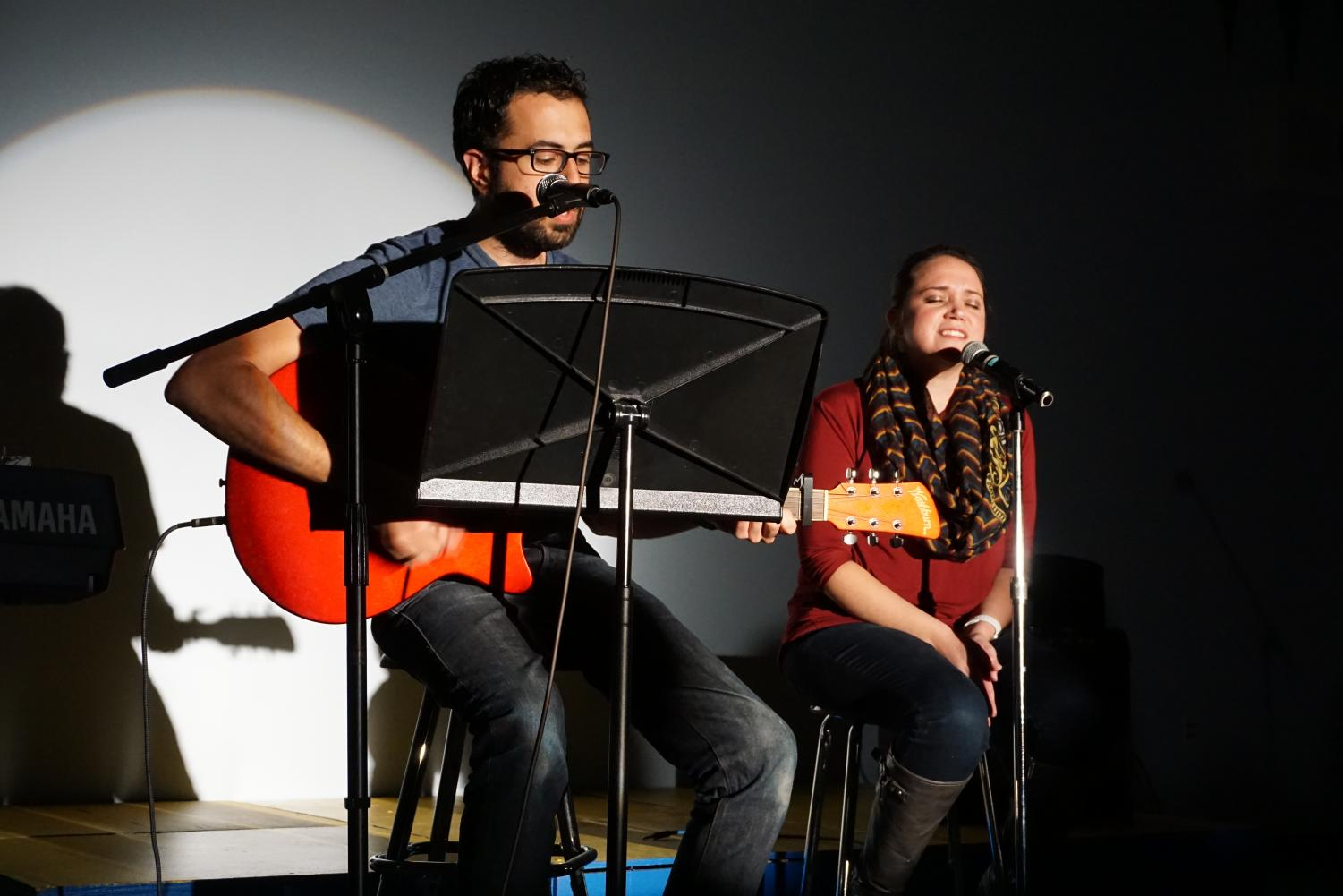 Mary Haddad and her husband perform.