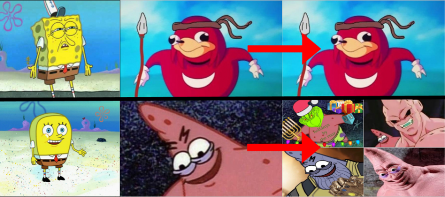 The+variety+of+%22Ugandan+Knuckles%22+compared+to+the+versatility+of+Spongebob+memes.