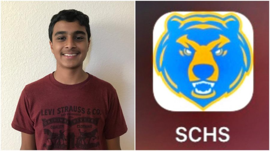 Sophomore+Rishab+Gupta+%28left%29+has+been+working+on+the+SCHS+app+%28right%29+since+his+freshman+year.+%0A