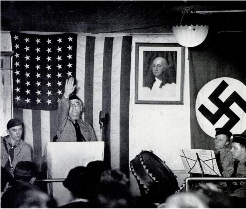 The rise of fascism in Europe had a great influence on certain groups in the United States.