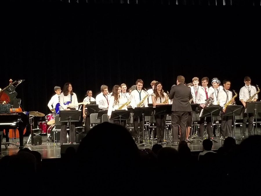 The Jazz Band performs for its audience of family and friends.