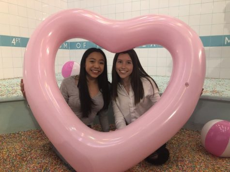 Sophomores Fernanda Alfaro (left) and Cassie Ambelang (right) pose at the Museum of Ice Cream in San Francisco.