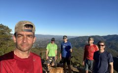PE teacher Brett Hall (far right) poses with his running friends (from left to right) Jeff Eisenman, Beau Van Zante, Mike Helms and Brad Boz on the El Sereno trail in Monte Sereno, Los Gatos.