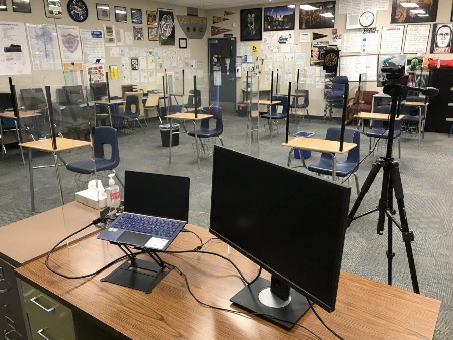 All classrooms are equipped with socially-distanced desks and shields.